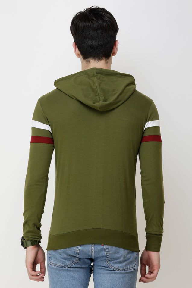 Wrath Solid Men Hooded Neck Green T-Shirt