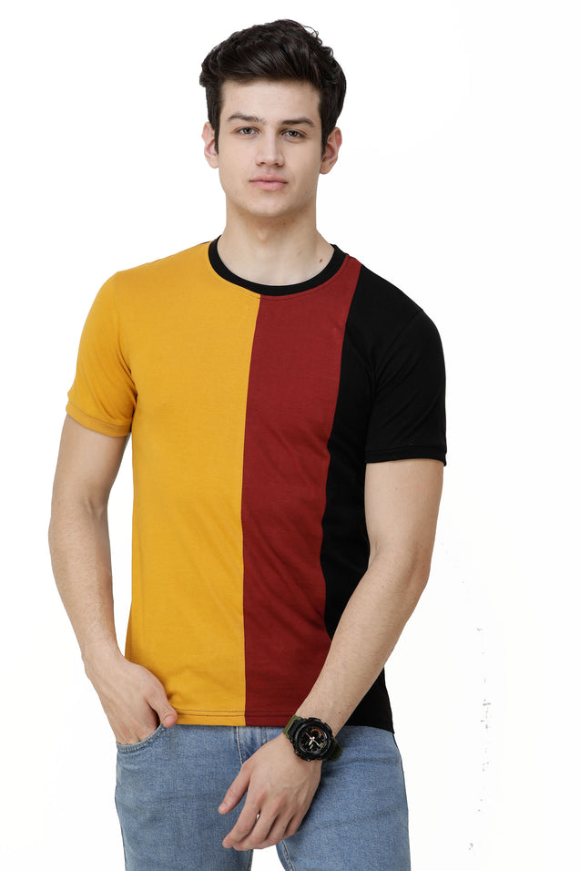 Wrath Color Block Men Round Neck Yellow, Black, Maroon T-Shirt