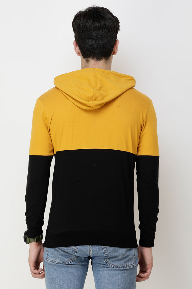 Wrath Color Block Men Hooded Neck Yellow, Black T-Shirt