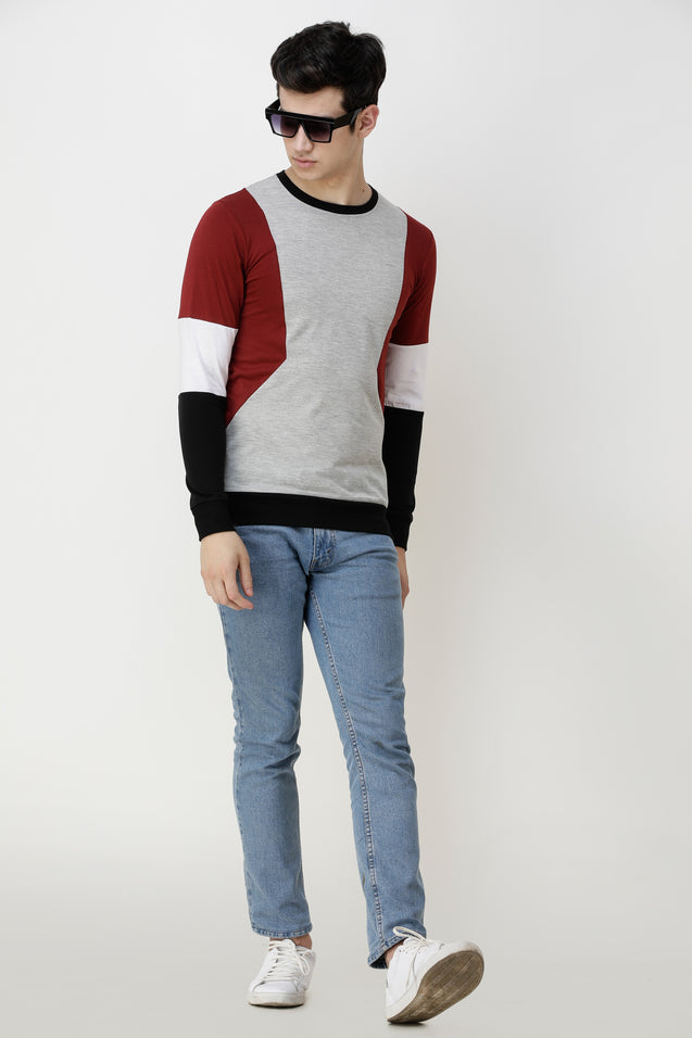Wrath Color Block Men Round Neck Grey, Maroon T-Shirt