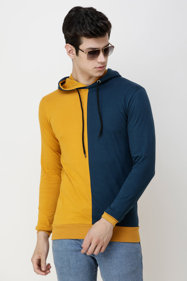 Wrath Color Block Men Hooded Neck Yellow, Blue T-Shirt ()