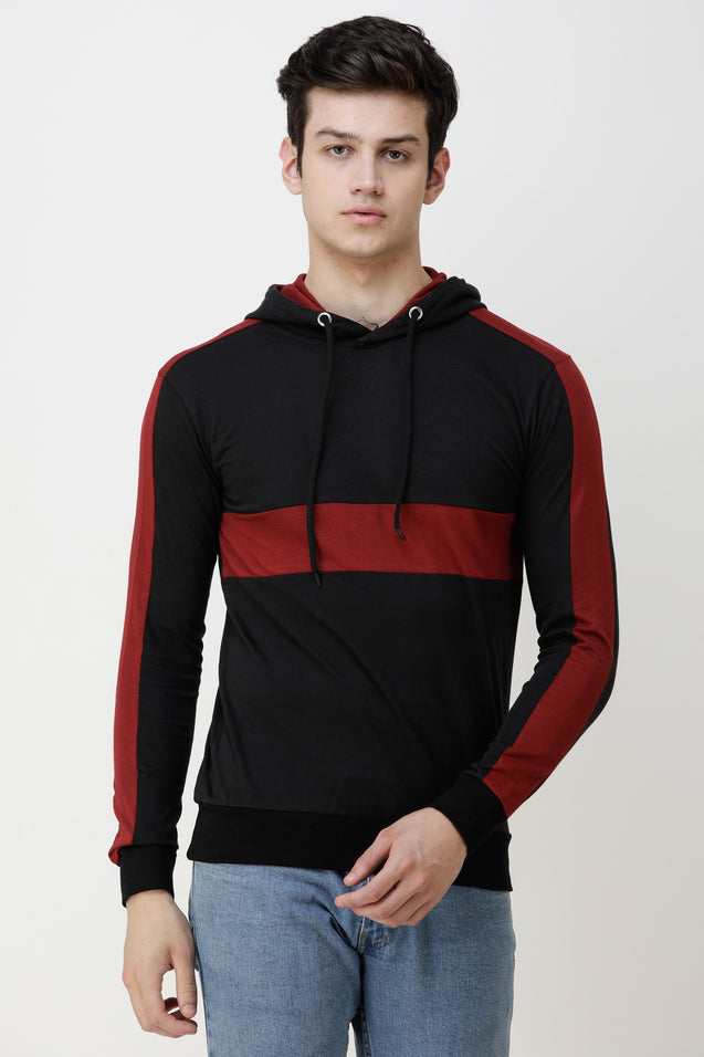 Wrath Color Block Men Hooded Neck Black, Maroon T-Shirt ()
