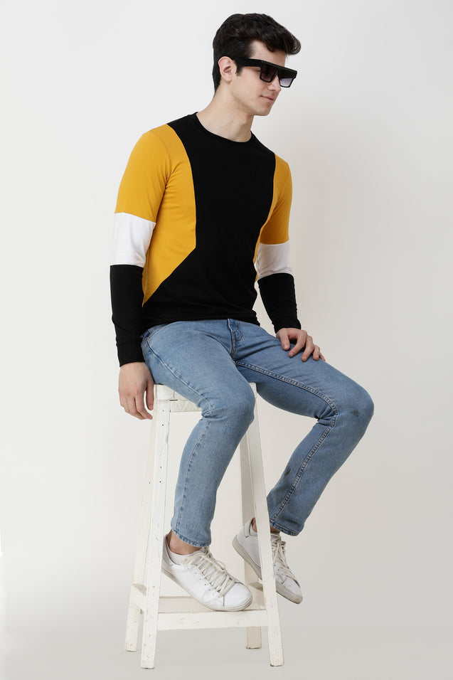 Wrath Color Block Men Round Neck Yellow, Black T-Shirt