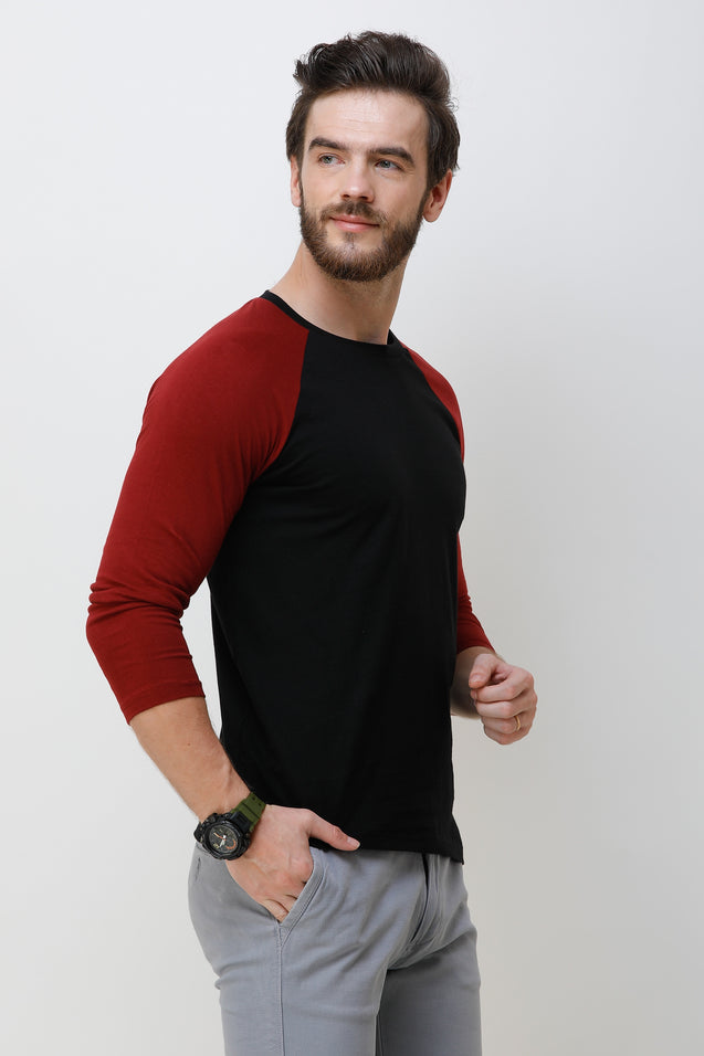 Wrath Macho Raglan Maroon & Black Full Sleeve T-Shirt For Men