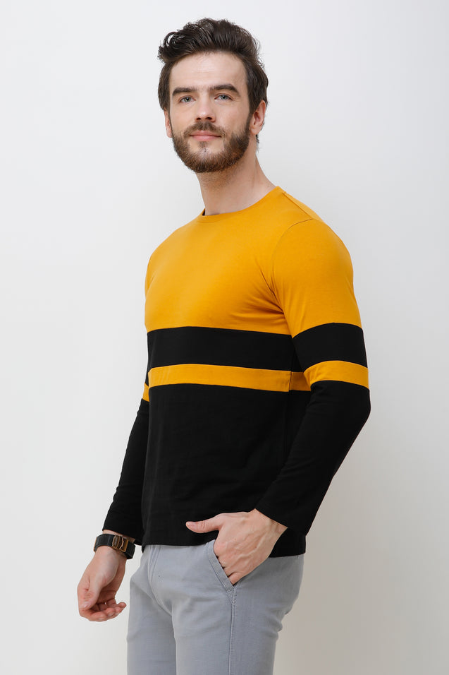 Wrath Stripes & Slabs Black & Yellow Full Sleeve T-Shirt For Men