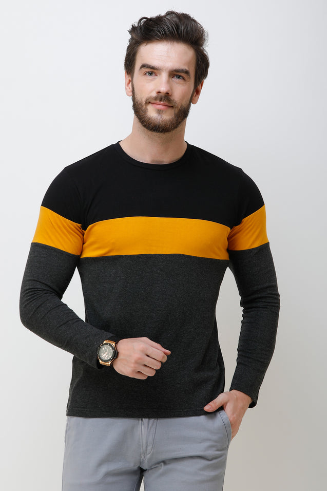 Wrath Charming Prince Yellow Gray & Black Full Sleeve T-Shirt For Men