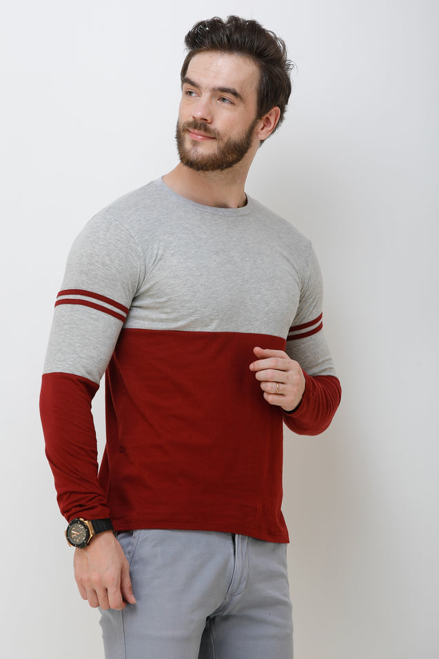 Wrath Smart As You Maroon & Gray Full Sleeve T-Shirt For Men