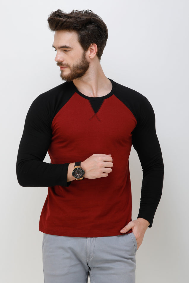 Wrath Trendy Cross Raglan Maroon Black Full Sleeve T-Shirt For Men