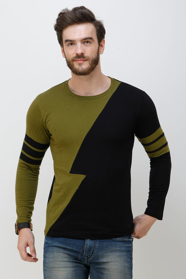 Wrath Zapped Green & Black Full Sleeve T-Shirt For Men