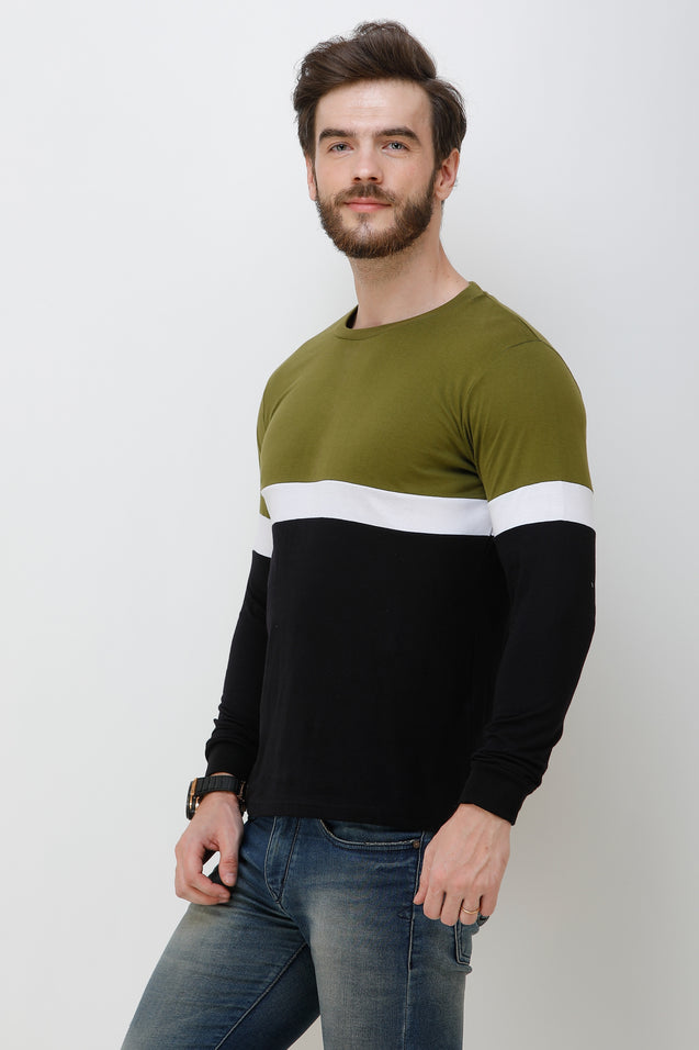 Wrath Stylish Lad Green Black Full Sleeve T-Shirt For Men