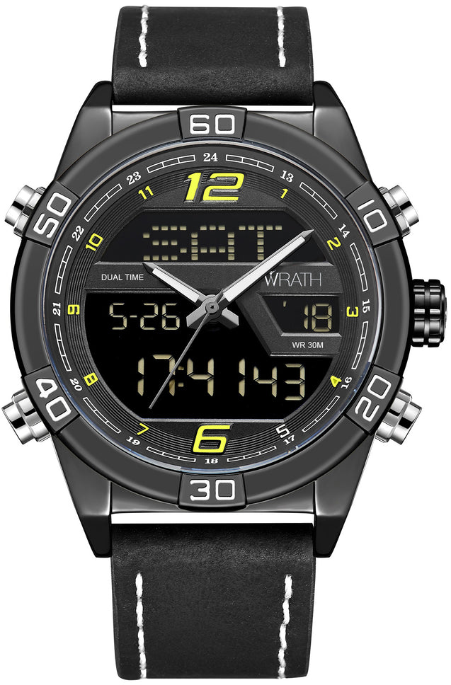 Wrath Officer's Black Belt Analog Digital Wrist Watch For Men & Boys