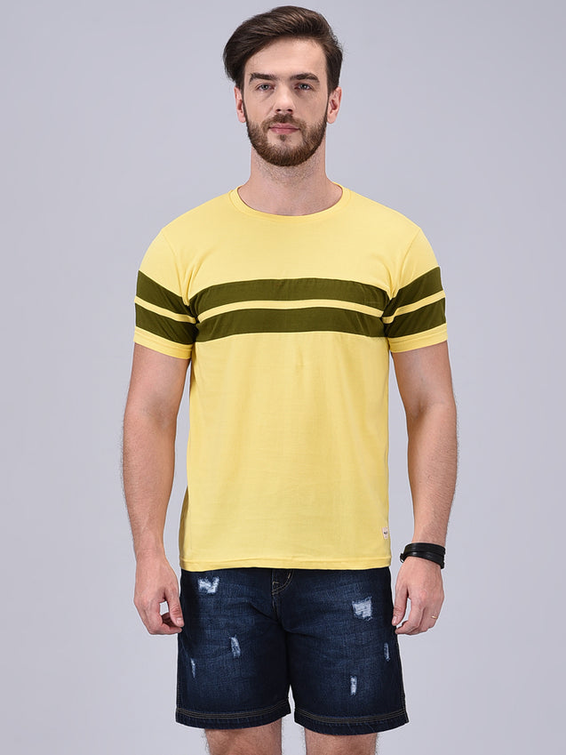 Wrath Bold Aspirations Yellow & Olive Green Designer T-Shirt For Men