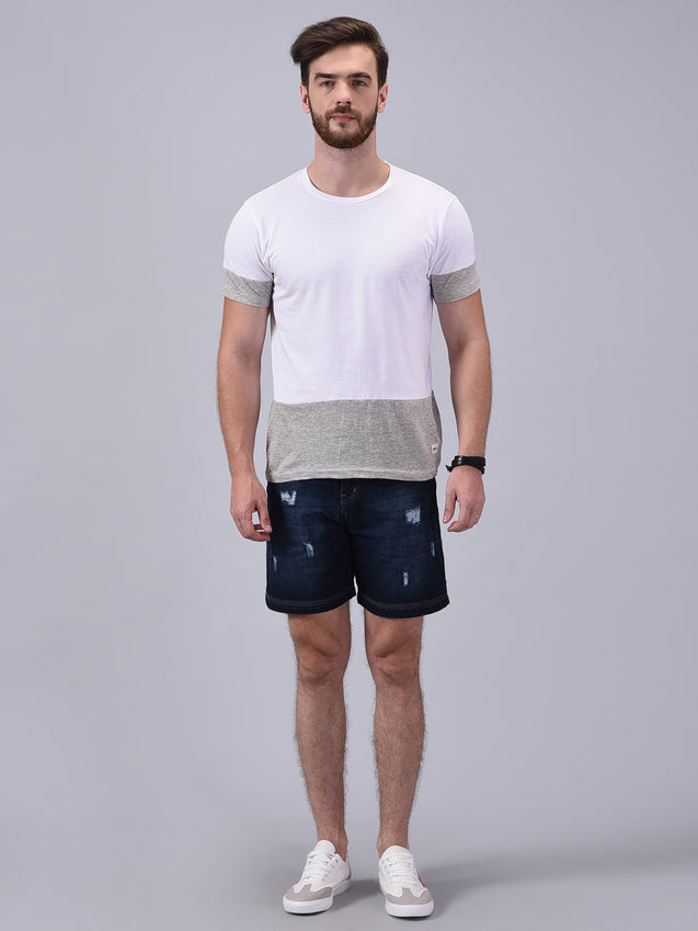 Wrath Chill-Out Gray White Colour Blocked T-Shirt For Men