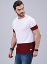 Wrath Chill-Out Maroon White Colour Blocked T-Shirt For Men