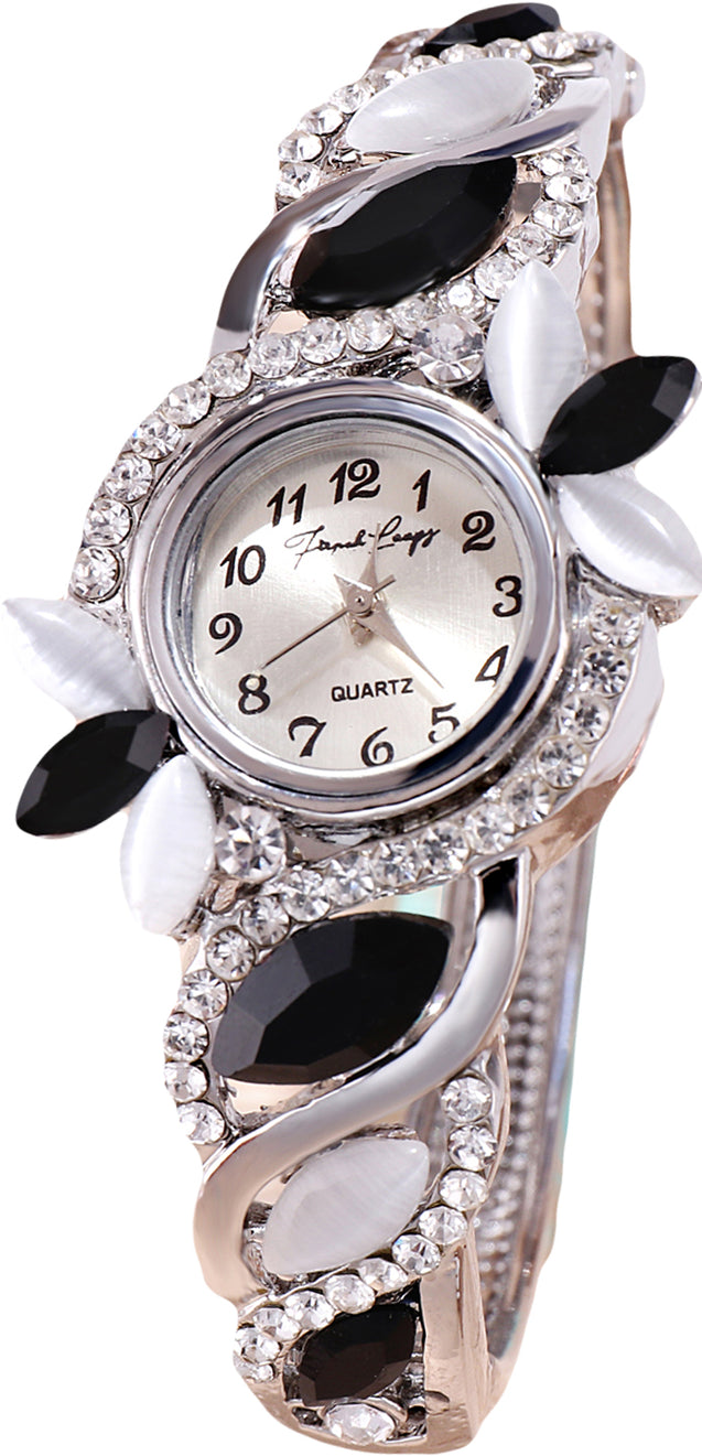 French Loops Hot Chick Black & White Stone Studded Silver Party Wear Bangle Bracelet Watch