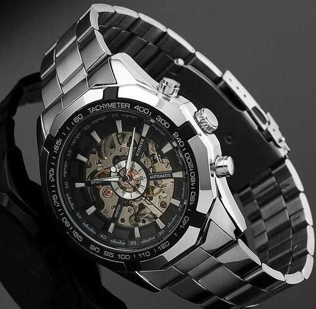 Winner Power Black Dial Luxury Automatic Mechanical Watch for Men- Without Battery for Life! (Retro Hand-Winding)