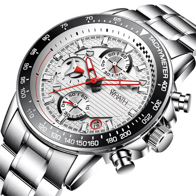 Wrath The Champion's Sport White Silver Chronograph Luxury Watch.