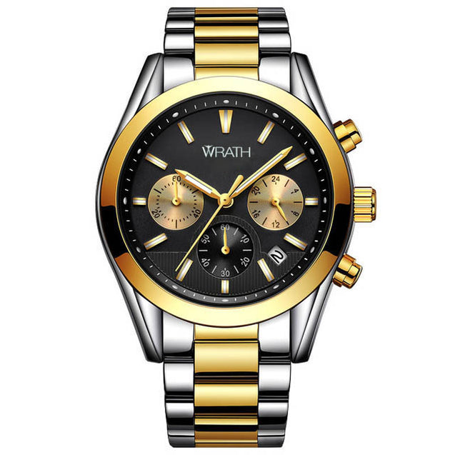 Wrath The King's Choice Black Dial Chronograph Luxury Watch.