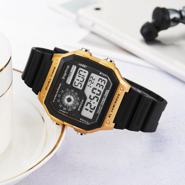 Digilog Tech Future Rose Gold Multi-Function Digital Watch For Men & Boys