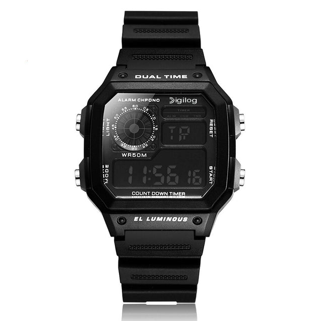 Digilog Tech Future Gold Multi-Function Digital Watch for Men & Boys (Black)