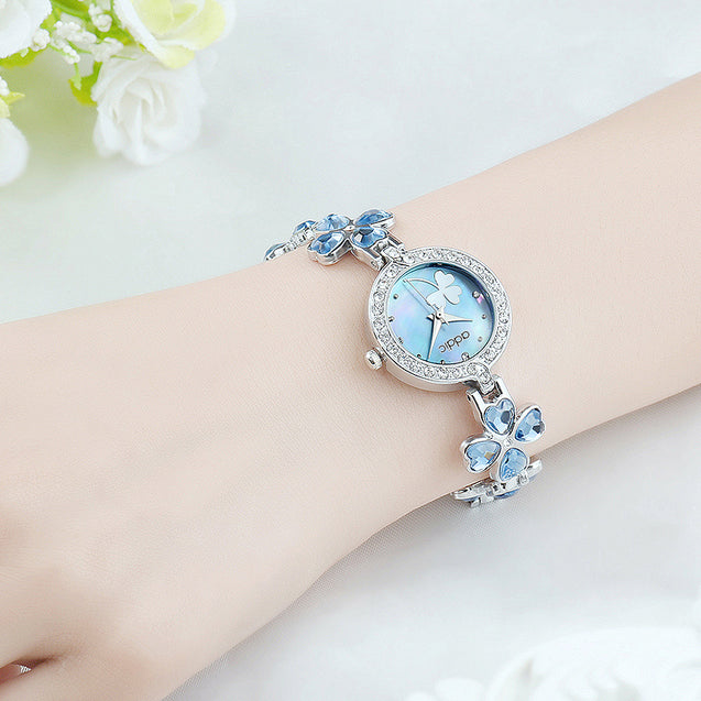 Addic Delicate Petals Blue Stone Studded Girls & Women's Watch.