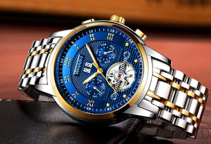 Wrath The Emperor Luxury Blue Dial Mechanical Chronograph Watch.