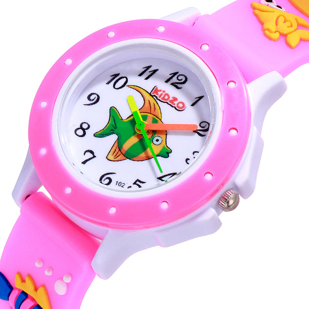 Kidzo Something Fishy Pink Kids Analog Wrist Watch With 3D Strap.