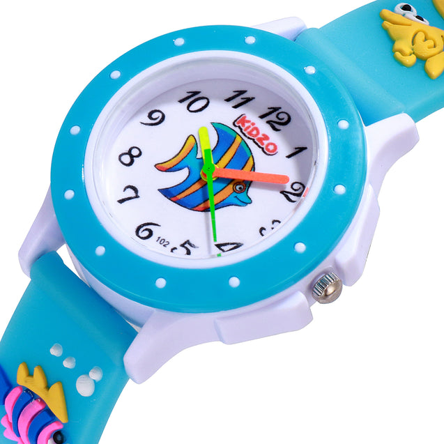 Kidzo Something Fishy Sky Blue Kids Analog Wrist Watch With 3D Strap.