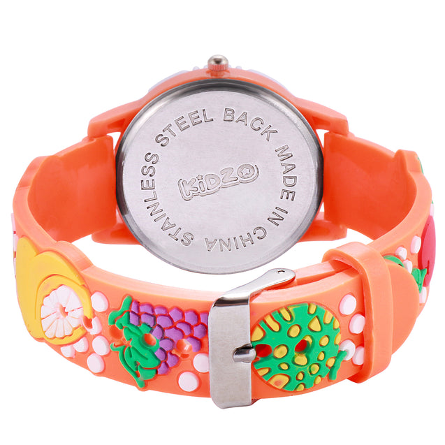 Kidzo Watermelon Gang Orange Kids Analog Wrist Watch With 3D Strap.