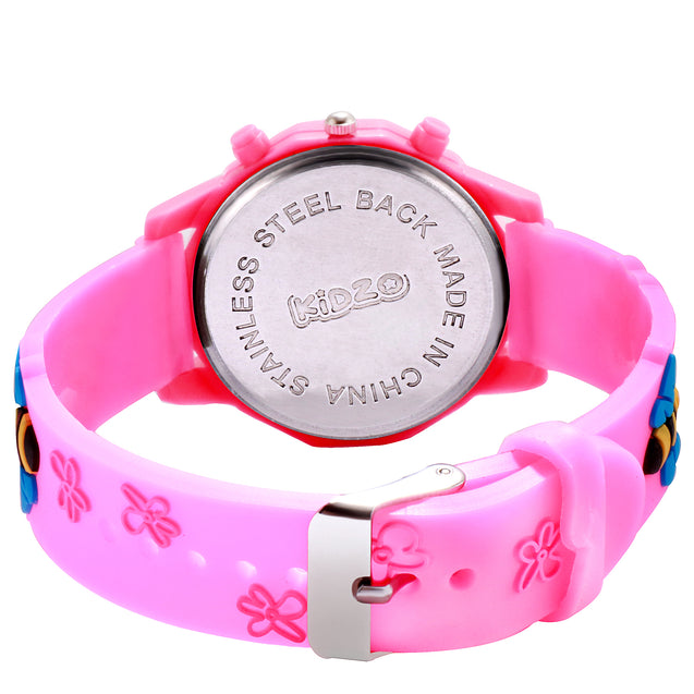 Kidzo Bubbly Bee Pink Girls Analog Wrist Watch With 3D Strap.