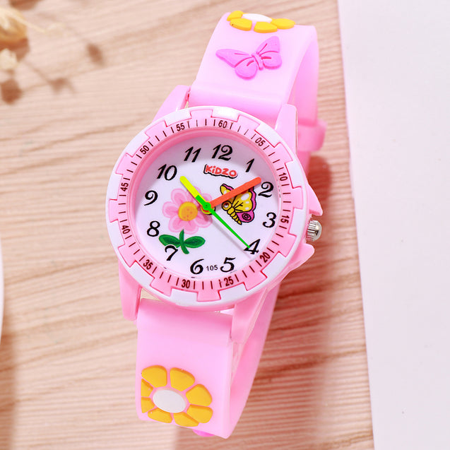 Kidzo Pretty Butterfly Baby Pink Analog Girls Wrist Watch With 3D Strap.