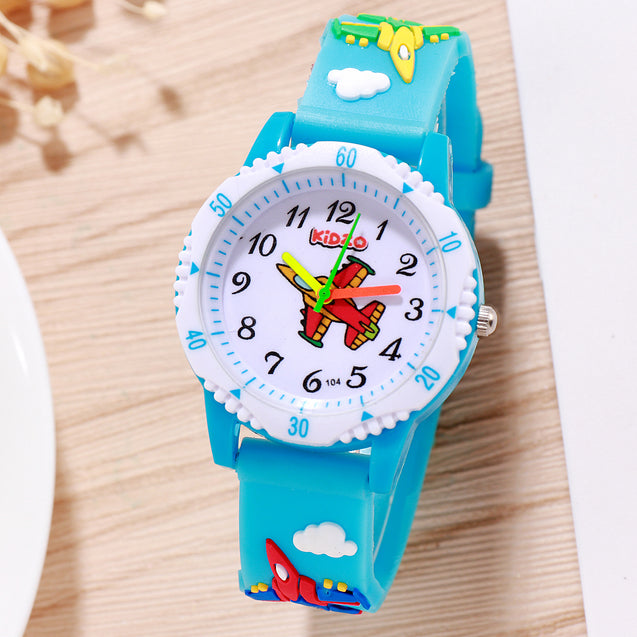 Kidzo Jet Figter Sky Blue Boys Analog Wrist Watch With 3D Strap.