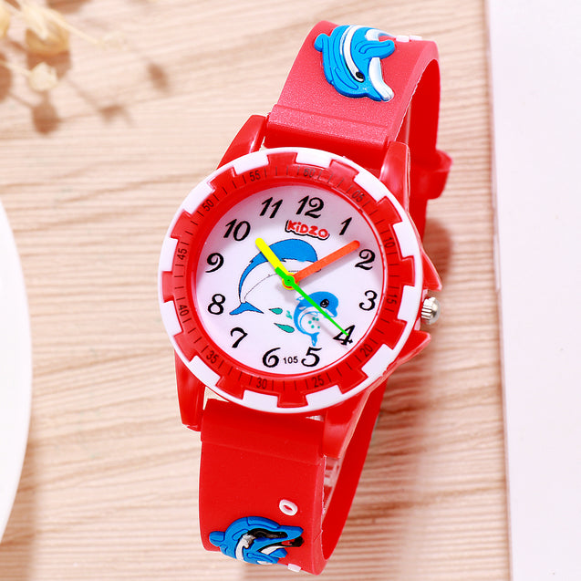 Kidzo Dolphin Buddies Red Analog Kids Wrist Watch With 3D Strap