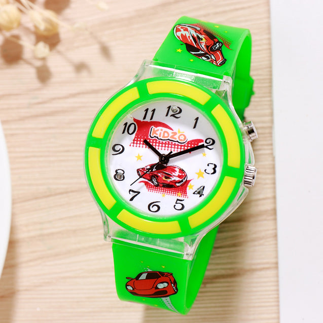 Kidzo Race Car Green Boys Analog Wrist Watch With Push Button Light.
