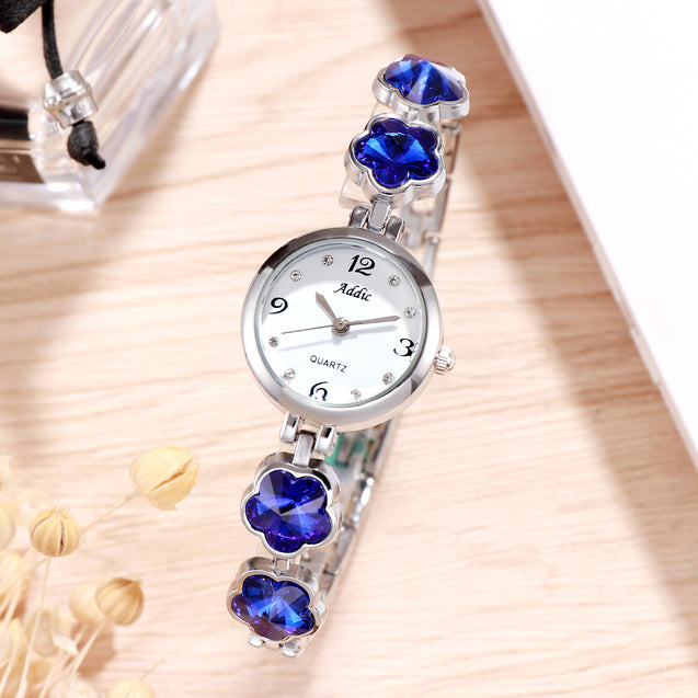 Addic Spring Blossoms Blue Silver Watch for Women & Girls.