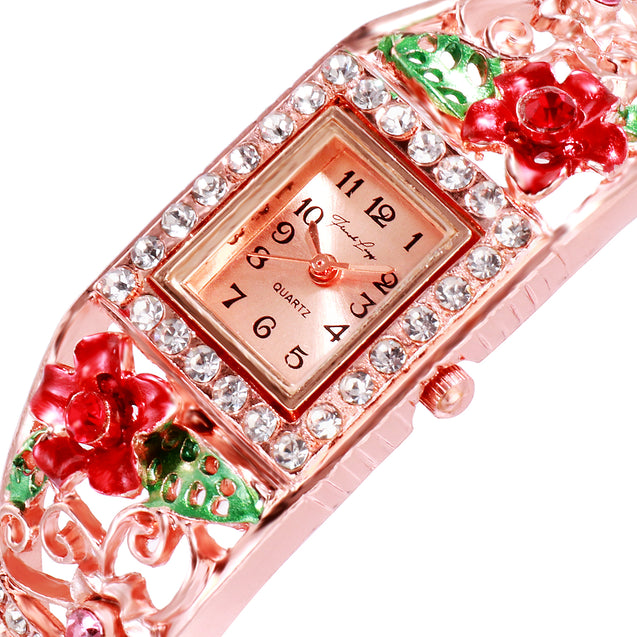 French Loops Flower Carvings Red  Ethnic Party Wear Rose Gold Bracelet Watch
