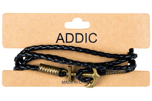 Addic Shop Anchor Vintage Bronze Leather Men's Bracelet.