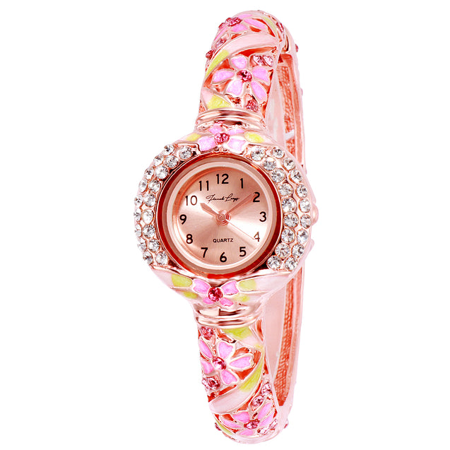 French Loops Her Majesty's Pink & Rose Gold Jewel Studded Ethnic Party Wear Bracelet Watch