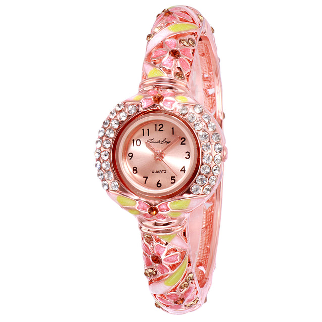 French Loops Dream Girl Pink & Rose Gold Studded Ethnic Party Wear Bracelet Watch