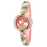 French Loops Her Majesty's Green & Rose Gold Jewel Studded Ethnic Party Wear Bracelet Watch