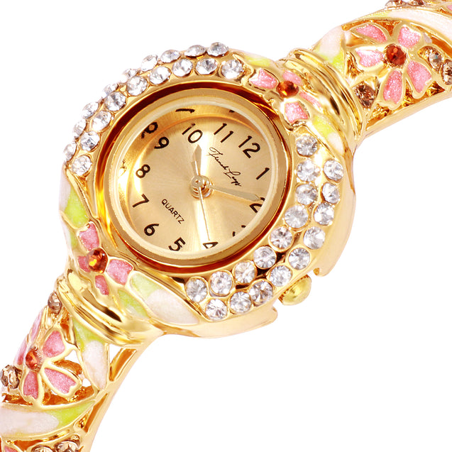 French Loops Dream Girl Pink & Gold Studded Ethnic Party Wear Bracelet Watch