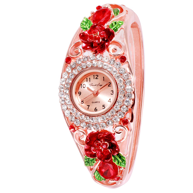 French Loops Rose Blush Red Rose Gold Crystal Studded Ethnic Party Wear Bracelet Watch