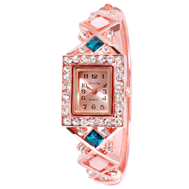 French Loops Nizam's Treasure Aqua Jewel Studded Rose Gold Ethnic Party Wear Bracelet Watch