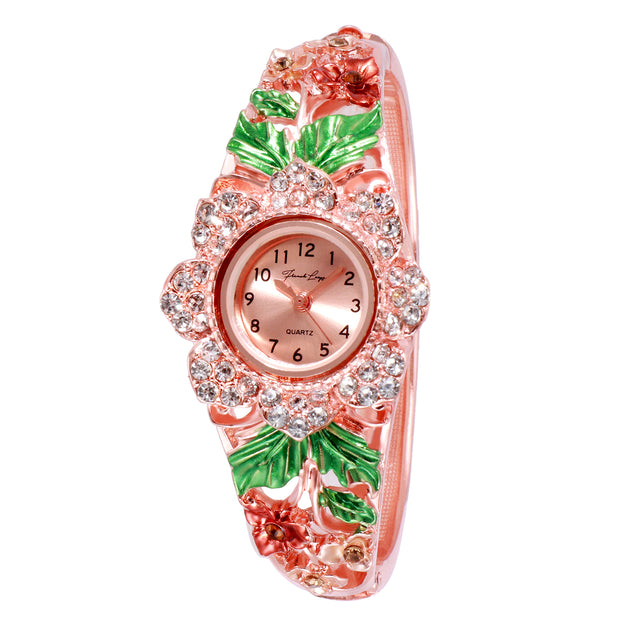 French Loops Queen's Bouquet Jewel Showered Rose Gold Ethnic Party Wear Bracelet Watch