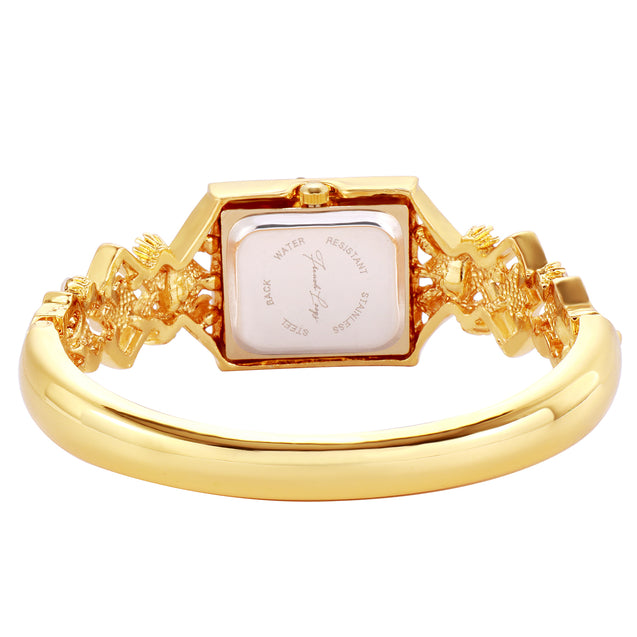 French Loops Nizam's Treasure Red Jewel Studded Gold Ethnic Party Wear Bracelet Watch