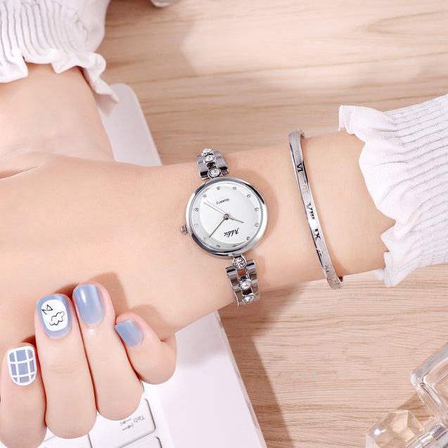 Addic Crystal Pleated Studded Silver Formal / Casual / Party Wear Multi Purpose Watch For Women & Girls.