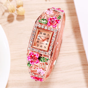 French Loops Flower Carvings Pink Ethnic Party Wear Rose Gold Bracelet Watch