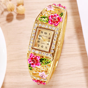 French Loops Flower Carvings Pink Ethnic Party Wear Gold Bracelet Watch