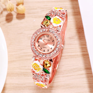 French Loops Flower Maiden's Yellow Ethnic Party Wear Rose Gold Bracelet Watch