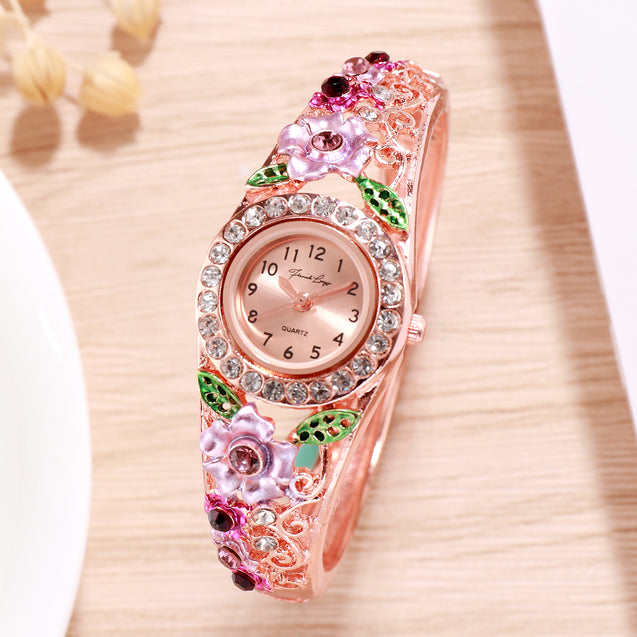 French Loops Daliah Branch Maroon Purple Ethnic Party Wear Rose Gold Bracelet Watch